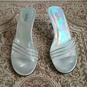 EUC Womens clear with studs heels size 7 1/2